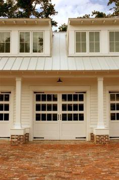 traditional garage and shed by RJ Elder Design- cute for garage redo.metal roof over garage? Shed Design, Roof Design, House Design, Brick Design, Studio Design, Building Design, Traditional Sheds, Traditional Exterior, Design Exterior