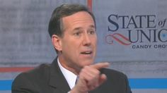 """Rick Santorum speaks to CNN Former Republican presidential candidate Rick Santorum (R) on Sunday insisted that President Barack Obama was imposing his beliefs on corporations and preventing them from exercising their """"right"""" to deny women contraception coverage in health care plans"""