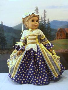 Williamsburg Summer Blue fits American Girl Elizabeth Felicity 18 in. dolls #ClothingShoes