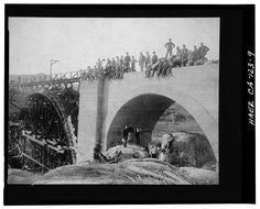 Photocopy of photograph (original print at Riverside Library, Local History Collection), photographer unknown, ca. VIEW OF WORK. Riverside California, Riverside County, Southern California, Golden Spike, Mission Inn, Railroad Bridge, Union Pacific Railroad, Local History, Under Construction