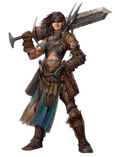 It's a guy...with the belly showing I thought it was female>>>the art of Eric Belisle: Pathfinder Iconic Adventurers