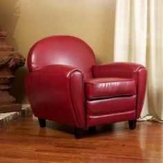 Hayley Ruby Red Leather Club Chair