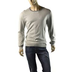 Calvin Klein Sweater Mens Crew Neck Long Sleeve Jumper Shirt Size L $69 NEW Gray #CalvinKlein #Crewneck