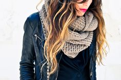 Leather jacket + Big scarf and Bright lips