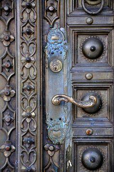 Door with ornate molding
