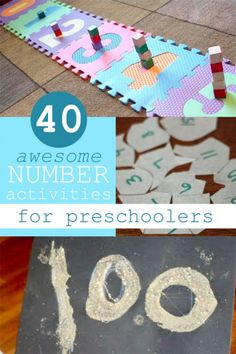 40 awesome number activities for preschoolers to learn their numbers and counting Numbers Preschool, Learning Numbers, Preschool Kindergarten, Preschool Learning, Early Learning, Fun Learning, Preschool Activities, Counting Activities, Toddler Learning