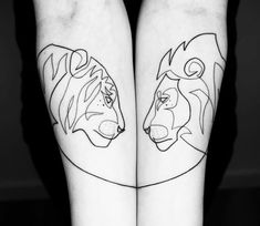 Amazing Minimalist Single Line Tattoos Art by Mo Ganji. Mini Tattoos, Love Tattoos, Body Art Tattoos, Small Tattoos, One Line Tattoo, Single Line Tattoo, Lion And Lioness Tattoo, Tiger Tattoo, Bruder Tattoo