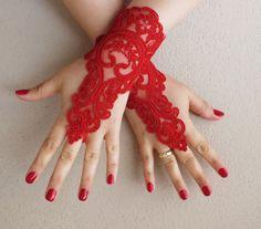 kırmızı dantel eldiven, fransız dantel eldiven parmaksız eldiven serbest gemi, düğün eldiven seviyorum