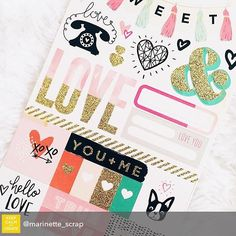 Repost from @marinette_scrap using @RepostRegramApp - In our @hipkitclub January Project Life Kit :: @cratepaper Hello Love Stickers #hipkits #hipkitclub #scrapbook #scrapbooking #papercrafting #january2016 #marinettelesne