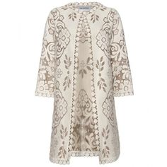 Valentino Lace Cut-Out Coat (£1,800) ❤ liked on Polyvore featuring outerwear, coats, jackets, valentino, coats & jackets, women, cream coat, long sleeve coat, lace coat and valentino coat