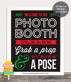 Christmas Party Photo Booth Printable Sign by Sunshine and Pop Designs on Etsy. Great for a holiday party or an ugly sweater party! INSTANT DOWNLOAD  DIY Printable Christmas Photo by SunshineAndPop, $4.25