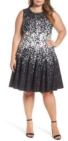 Plus Size Women's Eliza J Print Ponte Fit & Flare Dress