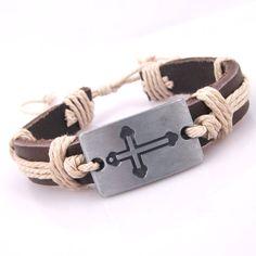 3pcs Handmade Cross Charms Off White Hemp Brown by jewelrygo, $3.99