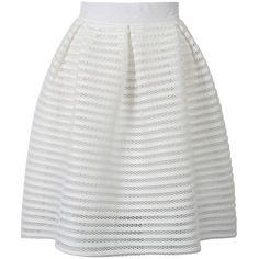 Choies White Sheer Stripe Knee Length Skater Skirt ($29) ❤ liked on Polyvore