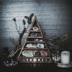 Sweet altar with crystals, sage and candles :: Earth Mama :: Worship :: Sacred Space :: Meditation :: Goddess Witch Decor, Witch Craft, Suncatcher, Deco Nature, Boho Home, Witch Aesthetic, My New Room, Magick, Diy Home Decor