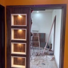 is beautiful foundation and light box if you want to see more design by . Room Partition Wall, Glass Partition Designs, Living Room Partition Design, Pooja Room Door Design, Living Room Divider, Door Design Interior, Dutch Door Interior, Interior Design Living Room, Living Room Designs