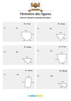 Le but de l'exercice est de trouver la longueur manquante à l'aide de la longueur du périmètre de la figure, ainsi que la longueur des autres côtés. Catégorie : Longueurs, périmètres, aires Module : Périmètre des figures Application téléchargeable sur