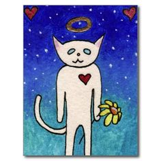 White Kitty with Daisy Post Card