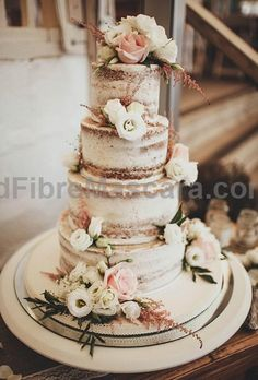 Brides: Nearly Naked Wedding Cake with Foliage. A nearly-naked rustic wedding… #weddings #wedding #marriage #weddingdress #weddinggown #ballgowns #ladies #woman #women #beautifuldress #newlyweds #proposal #shopping #engagement