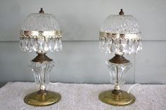 Vintage Pair of Table Boudoir Lamps Crystal by QUEENIESECLECTIC