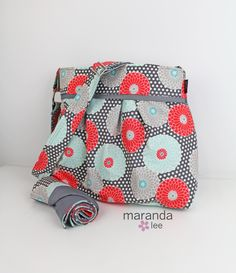 Stella Diaper Bag Set with Changing Mat Pad Large - Springdale Floral with Grey- READY to SHIP  Coral Mint Nappy Bag Attach to Stroller by marandalee on Etsy
