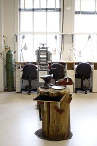 Revere Studio with rolling mill, jeweler's stump, anvil, vise, and more