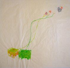 """Wura-Natasha Ogunji 2014 """"Generators Flowers Ife"""" Thread, ink, graphite on paper 23 x 24 inches"""
