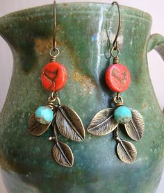 Antiqued Gold Leaf and Red Vintage Earrings by DesignsbyJocelyn $18.00