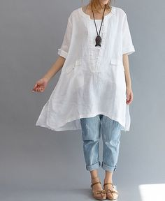 Buy Plus-Size Spring and Summer Autumn Irregular Plus-Size Fashion Asymmetrical Leisure Loose Fitting Linen Short-sleeved shirt Women Beach Vintage blouse shirt at Wish - Shopping Made Fun Baggy Tops, Women's Tops, Estilo Hippie, Linen Blouse, Linen Tunic, Tunic Blouse, Linen Dresses, Floral Dresses, Women's Dresses