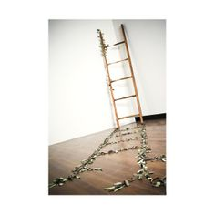 Helen Earl, Out of the Woods. 2010. Image by Greg Piper. Found ladder and hand formed porcelain leaves.
