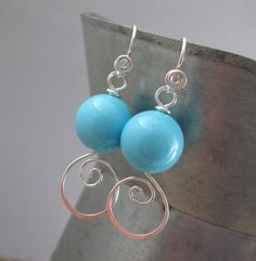 Turquoise Shell Pearl And Sterling Silver Earrings