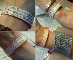 """¡Algunas de las pulseras que hicimos en el taller """"reencarnación lite!raria"""" del 23 de abril del 2013! Goma eva, libros a expurgar, corteches para cerrarla, barniz... pasamos un rato estupendo!"""
