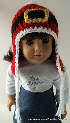 American Girl Crocheted Santa's Belt Ear Flap by SweetPeaFashions, $5.50