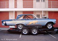 Great pic of Mr. Norm's Dodge on  an open trailer.