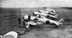 "A group of Japanese Nakajima Ki-44 ""Seki"" fighter-interceptors (allied code name ""Tojo"") from the 47th Sentai (squadron) at Narimatsu airbase in Japan."