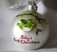 Christmas Birdie Ornament - Personalized and Hand Painted. $26.00, via Etsy.