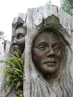 Maori Carvings, New Zealand.amazing robintelford Maori Carvings, New Zealand.amazing Maori Carvings, New Zealand. Land Art, Lake Taupo New Zealand, Sculpture Art, Sculptures, Driftwood Sculpture, Maori Art, Tree Carving, Kiwiana, Tree Art