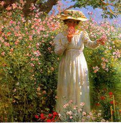 ROBERT LEWIS REID-A summer Day In The Flower Garden