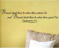 """Simple and sweet decor from the Bible.  """"Blessed Shalt Thou Be...""""  Religious Entryway Large Wall Art Quote #home"""