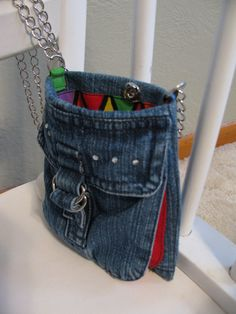 Adorable Pocket Purse with cell phone pocket and 24 inch chain strap from Upcycled jeans