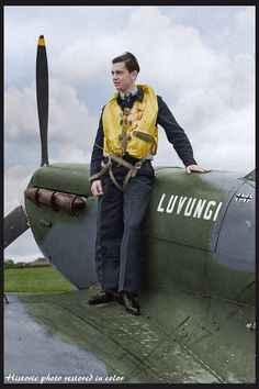 "Pilot Officer Henri Albert Picard (Nº 87693) of No. 350 (Belgian) Squadron, on the wing of his Supermarine Spitfire Mk.Vb ""Luvungi"" MN-S at Kenley, London. July 1942 Attached to the Belgian 350 Squadron, destroyed 7 German planes for certain and one probably, and in addition damaged a dozen others. One of the men who join The 'Great Escape' from Stalag Luft III, there 76 successful escapees of which 73 were recaptured and 50 executed.see more @ FB WW2 colourised photos(© IWM CH 6356)"