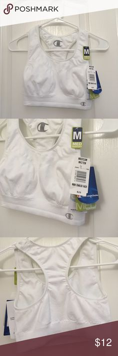 Sports bra Medium support. Reliable support for low impact activities. Wide stay put straps. Racerback design for ease of movement. Wide band to secure and support. Supportive inner bra. MEDiUM size. 95% Nylon 5% Spandex Champion Intimates & Sleepwear Bras