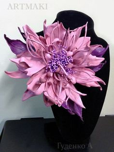 Галерея ученических работ! Текущие работы месяца апреля в студии «ARTMAKI».   Кожаные цветы. Камелия «Лори»— бутоньерка.