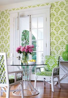 Thibaut Thai Ikat wallpaper and fabric, round dining table, metal base, green wallpaper Home Design, Interior Design, Green Wallpaper, Fabric Wallpaper, Accent Wallpaper, 2017 Wallpaper, Beautiful Wallpaper, Wallpaper Ideas, Do It Yourself Design