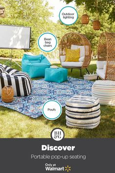 Add variety to your outdoor seating with Better Homes & Gardens at Walmart. #outdoorfurniture #outdoorseating #popupseating #beanbagchair #outdoorbeanbag #outdoormovienight #comfyoutdoorchair Outdoor Seating, Outdoor Rugs, Outdoor Chairs, Outdoor Living, Outdoor Bean Bag Chair, Bean Chair, Outdoor Movie Nights, Only At Walmart, Backyard