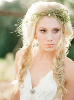 Fishtail Braids and Flower Crown | Jodi McDonald Photography | http://burnettsboards.com/2013/11/celebration-bridal-fashion-decades/