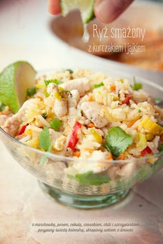 Stir-fried Rice with Egg, Chicken and Vegetables Fried Rice With Egg, Cooking Recipes, Healthy Recipes, Chicken And Vegetables, Food Hacks, Potato Salad, Chicken Recipes, Food And Drink, Yummy Food