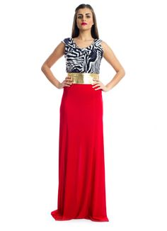 For that elegant and yet casual look, this sleeveless maxi dress by Xela make a perfect buy! It features zebra printed detail on top and red jersey fabric at the bottom with a golden waist belt to add that touch of glamour to your look. This dress makes an ideal choice for social gatherings.