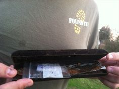 Bad cache container. Clam-shell eyeglass containers  -- really bad, not an outdoor container. Pinned by ontariocacher.