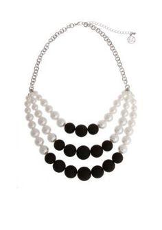 Erica Lyons  Silver-Tone Bad Romance Triple Row Bead Layered Necklace